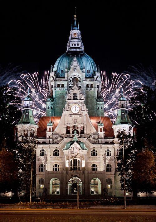 Feuerwerk Hannover - Rathaus